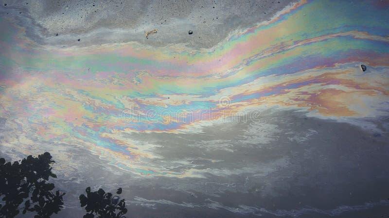 Cor do arco-íris do querosene fotografia de stock