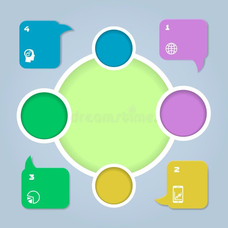 Cor do círculo infographic Molde para o diagrama ou ilustração royalty free