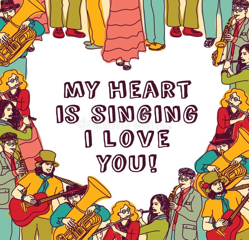 Cor do cartão e do sinal do amor da música do coração ilustração stock
