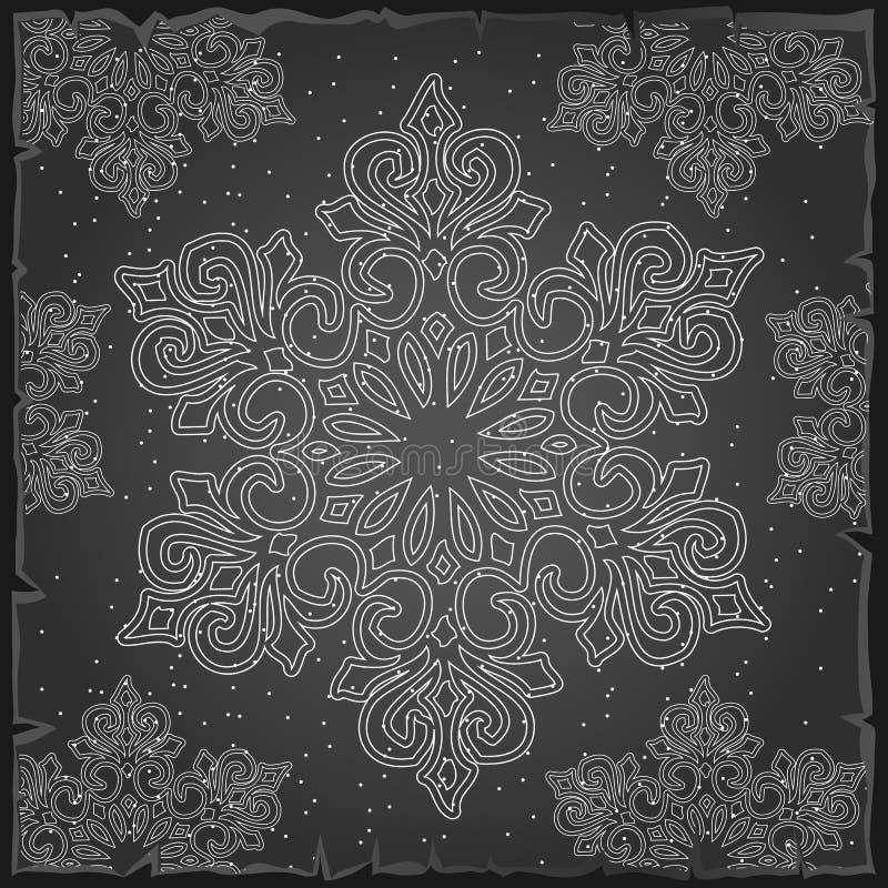 Cor do cinza do papel de envolvimento do Natal da amostra A textura dos flocos de neve Esboço para o cartão, cartaz festivo ou ilustração royalty free