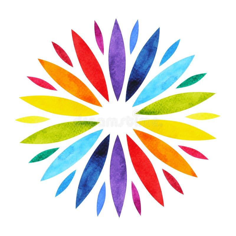 a cor 7 do conceito do símbolo da mandala do chakra, floresce floral, pintura da aquarela ilustração do vetor