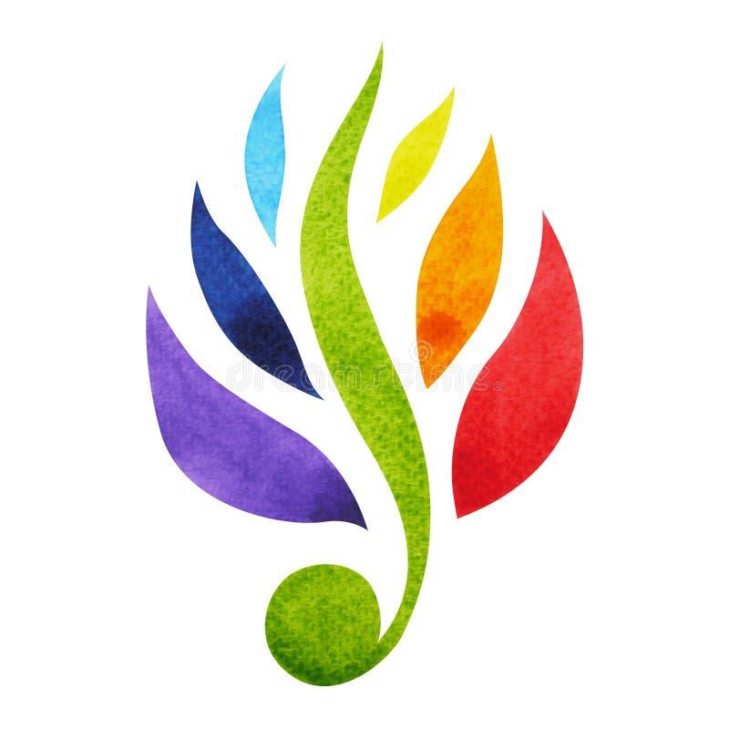 a cor 7 do conceito do símbolo do chakra, floresce floral, pintura da aquarela ilustração do vetor