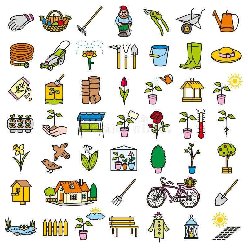 Cor do conjunto de ferramentas do ícone do jardim ilustração stock