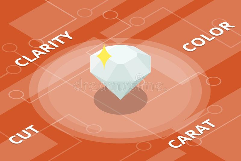 A cor do diamante 4c cortou estilo isométrico isolado do quilate da claridade o único ilustração stock