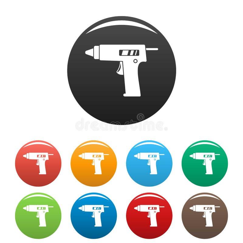 Cor do grupo dos ícones da pistola da colagem ilustração stock