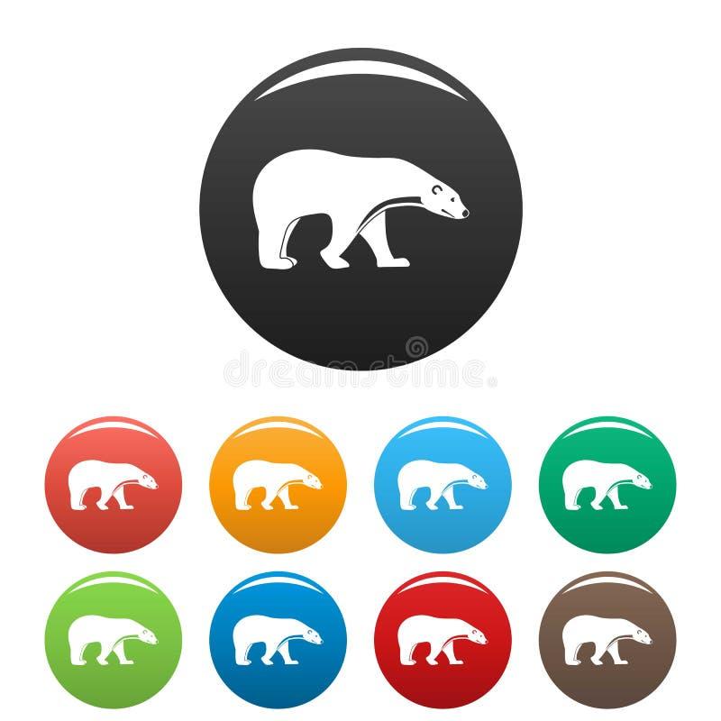 Cor do grupo dos ícones do urso polar ilustração do vetor