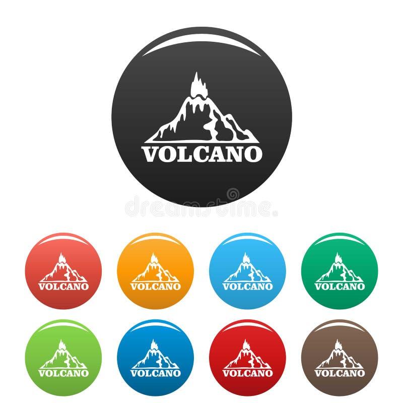 Cor do grupo dos ícones do vulcão do fogo ilustração do vetor