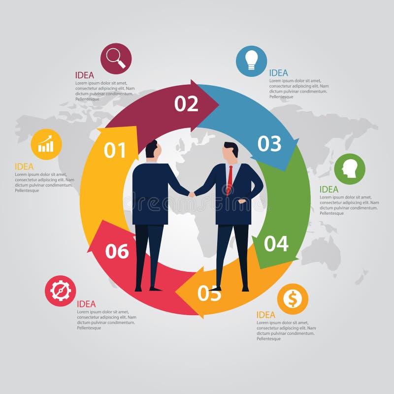 Cor do mapa do mundo do informação-gráfico da etapa do círculo Do acordo executivos da série vestindo do aperto de mão ereto form ilustração do vetor