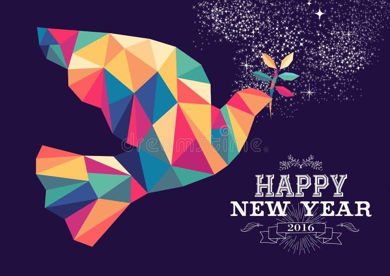 Cor do moderno do triângulo da pomba do ano novo feliz 2016 ilustração do vetor