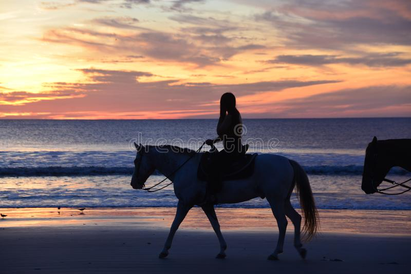 A cor do nascer do sol envolve um grupo pequeno de cavaleiros de horseback foto de stock