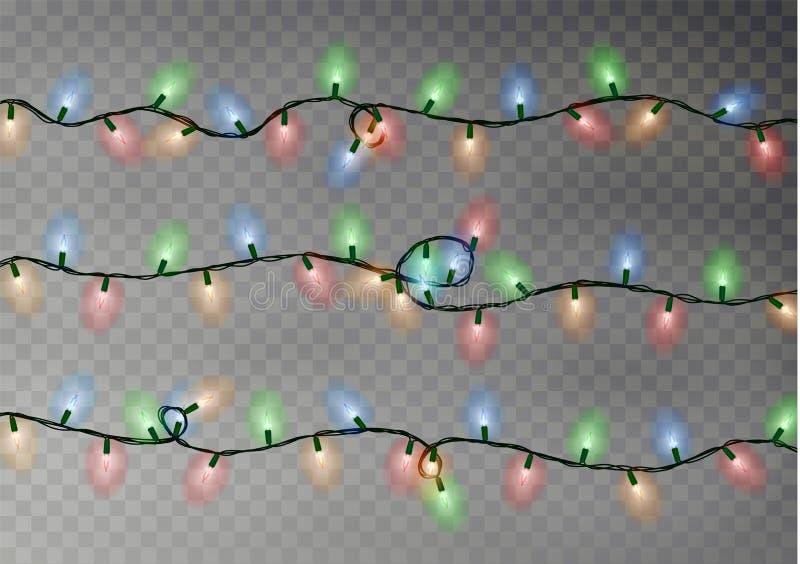 A cor do Natal ilumina a corda Decoração transparente do efeito isolada no fundo escuro realístico ilustração stock