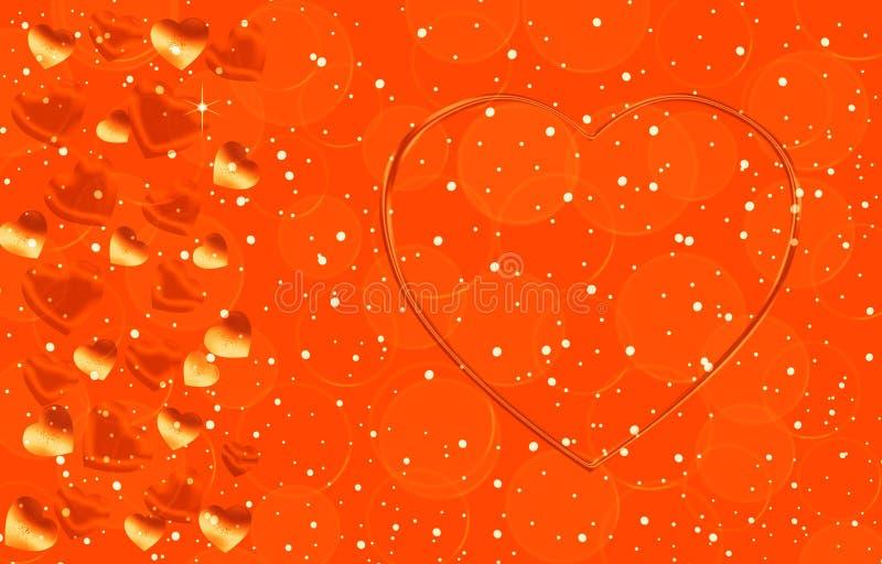 Cor do ouro do fundo com corações de tamanhos diferentes ilustração stock