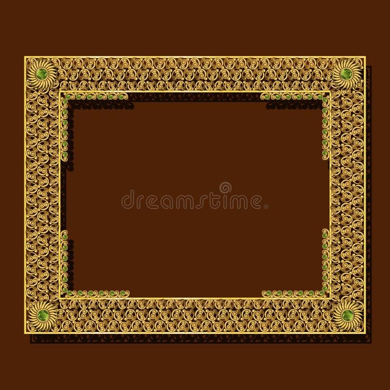 Cor do ouro do quadro com sombra ilustração royalty free