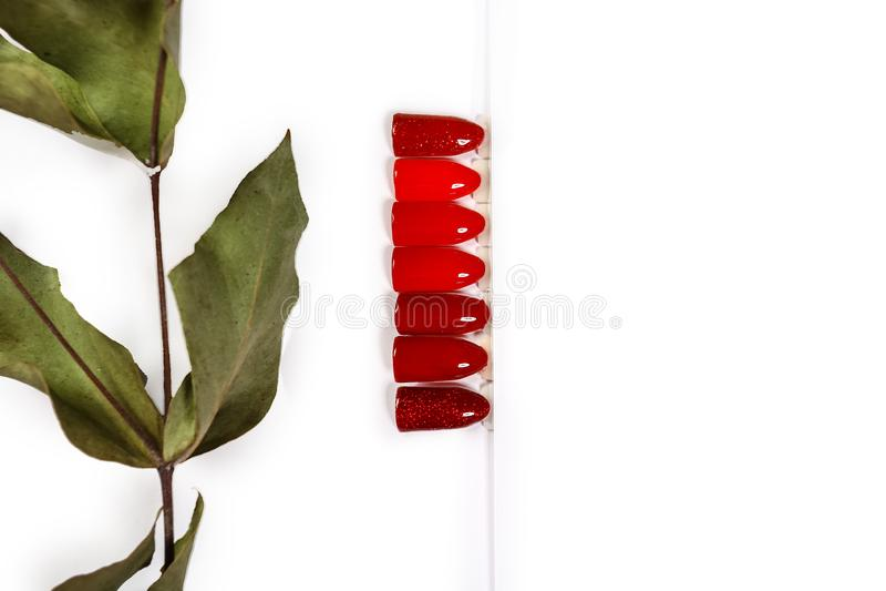 A cor do polonês para máscaras do tratamento de mãos do vermelho Projeto para pregos verniz para as unhas dos verificadores Trata imagem de stock