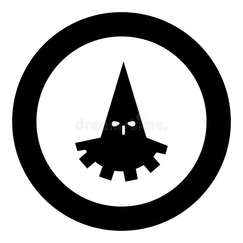 Cor do preto do ícone do carrasco do executor no círculo redondo ilustração royalty free