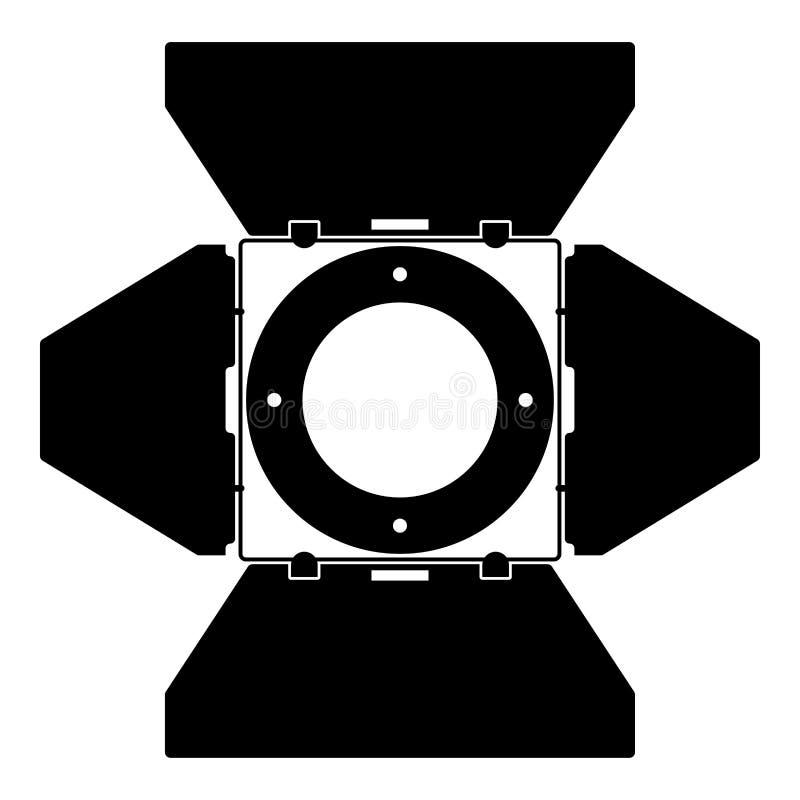 Cor do preto do ícone do conceito da luz do projetor da lâmpada do ponto do equipamento do filme do projetor da opinião dianteira ilustração do vetor