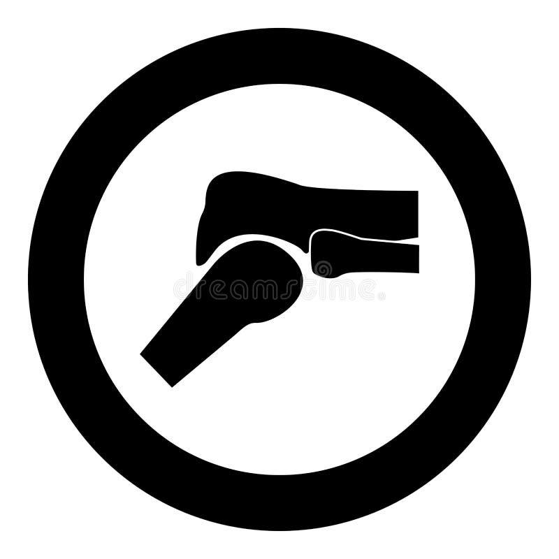 Cor do preto do ícone da articulação do joelho no círculo ilustração do vetor