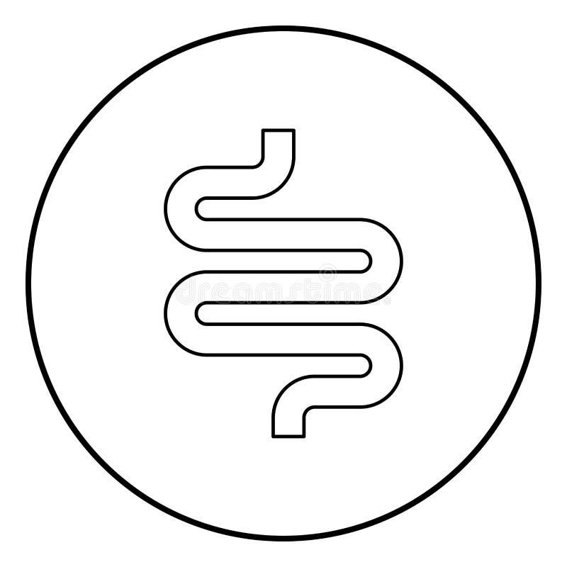 Cor do preto do ícone do intestino ou das entranhas no círculo redondo ilustração stock