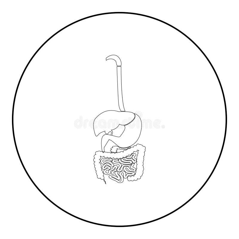 Cor do preto do ícone do sistema digestivo no círculo redondo ilustração stock