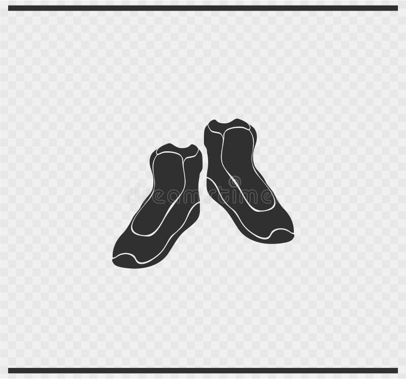 Cor do preto do ícone das sapatilhas em transparente ilustração stock