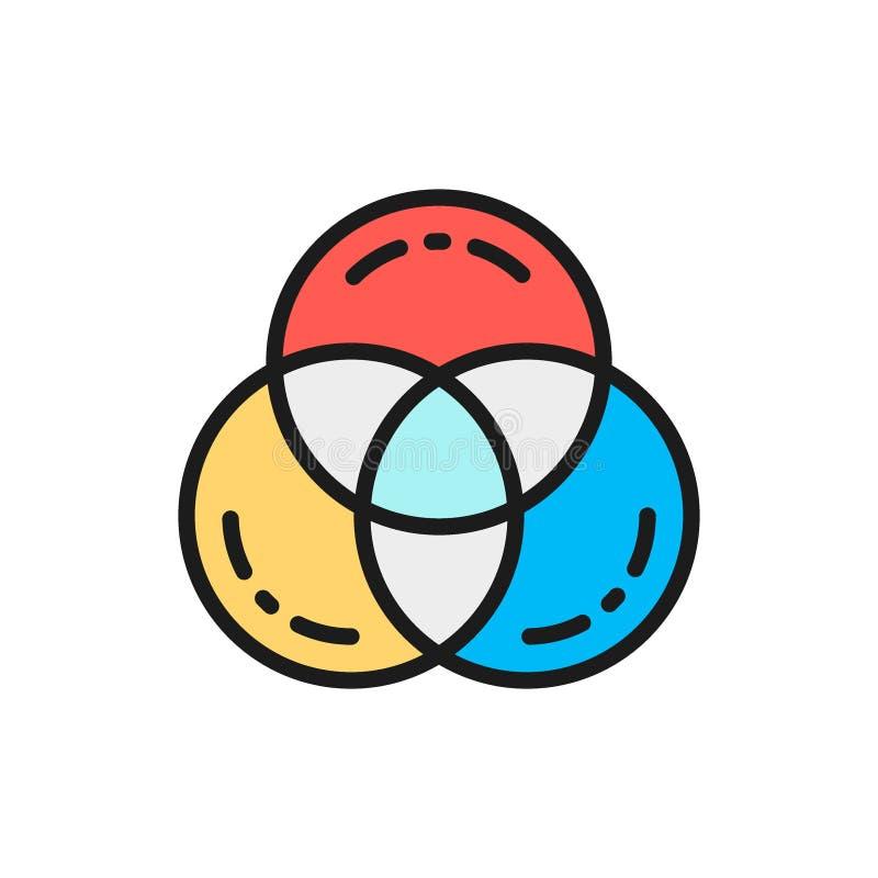 Cor do RGB do vetor, linha de cor lisa ícone da paleta da amostra de folha ilustração stock