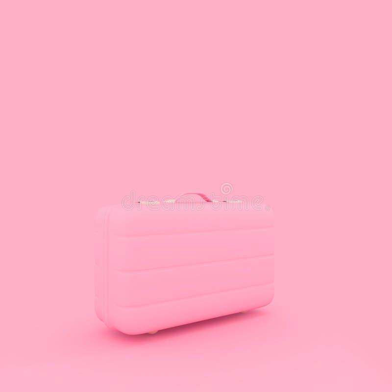 Cor do rosa pastel da mala de viagem do curso isolada no fundo cor-de-rosa MI ilustração do vetor