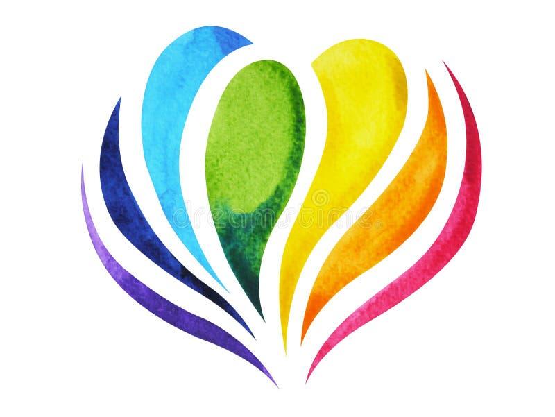 cor 7 do símbolo do sinal do chakra, flor de lótus colorida, mão tirada, projeto da pintura da aquarela da ilustração ilustração stock