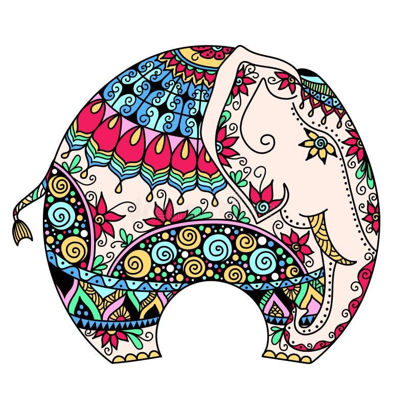 A cor do vetor decorou o elefante indiano ilustração stock