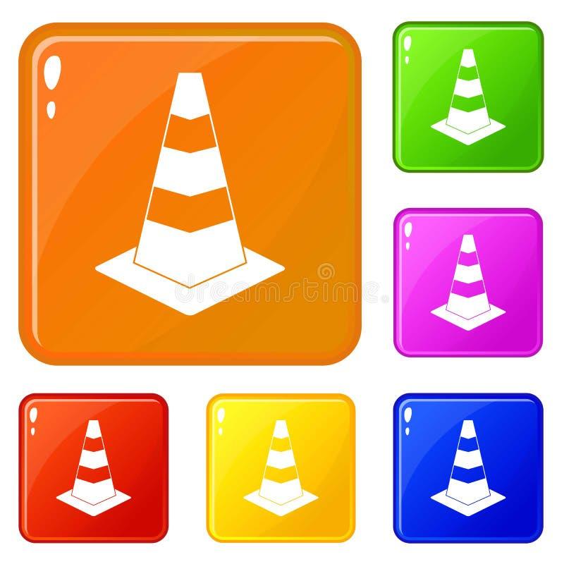 Cor do vetor do grupo dos ícones do cone do tráfego ilustração do vetor