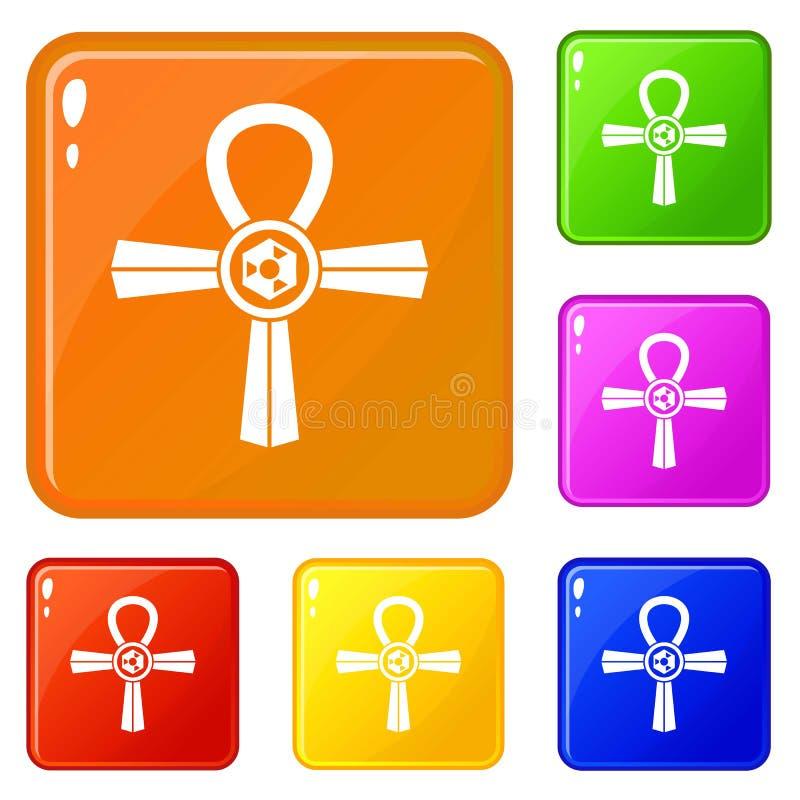 Cor do vetor do grupo dos ícones do símbolo de Egito Ankh ilustração royalty free