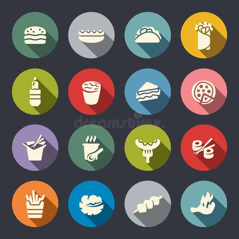 Cor dos ícones do alimento Ilustração do vetor ilustração do vetor