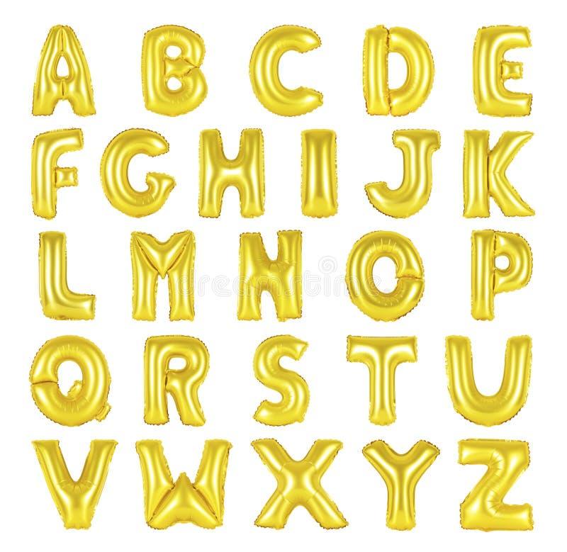 Cor dourada do alfabeto inglês imagem de stock