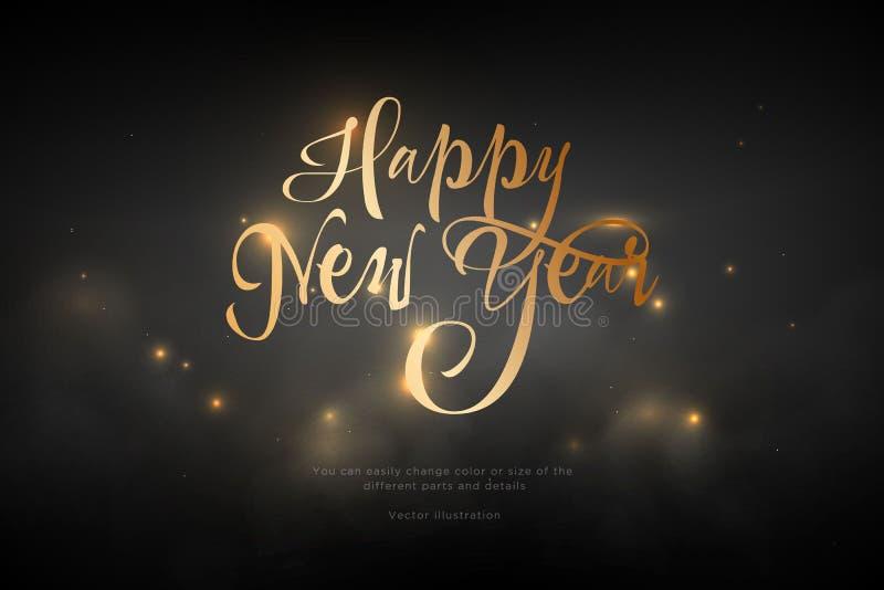 Cor dourada do ano novo feliz do texto Baixa arte poli do wireframe no fundo preto Conceito para o feriado ou a mágica ou o milag ilustração royalty free