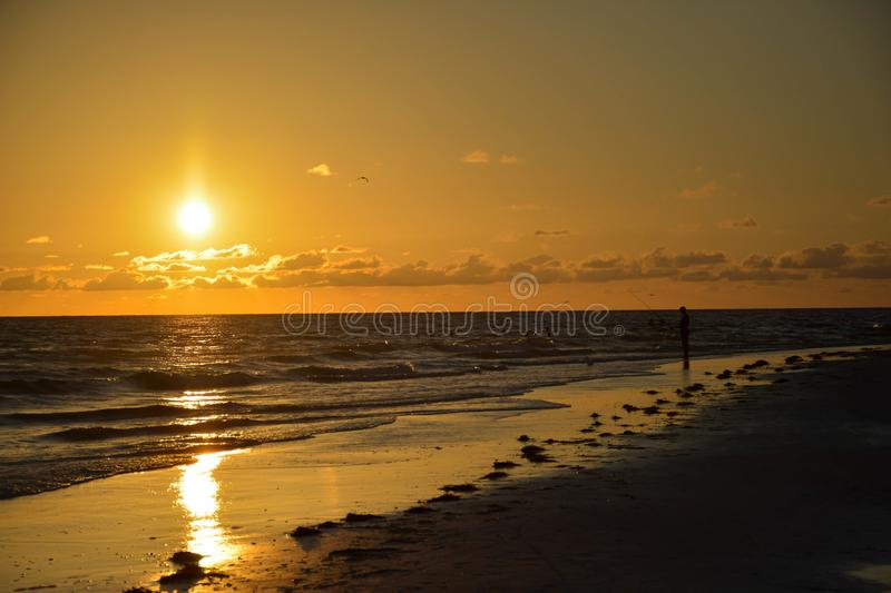 Cor dourada do por do sol fotografia de stock royalty free