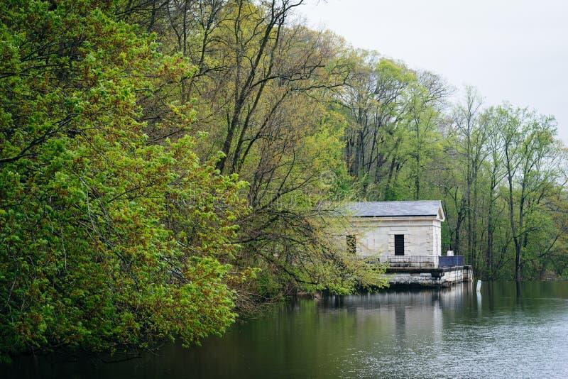 Cor e construção da mola ao longo do lago Roland, no lago Roland Park fotografia de stock