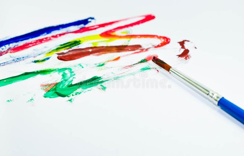 Cor e escova de pintura fotografia de stock