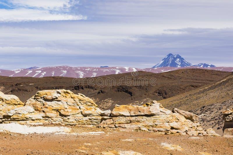 Cor e montanhas na reserva nacional dos flamencos do Los fotografia de stock royalty free