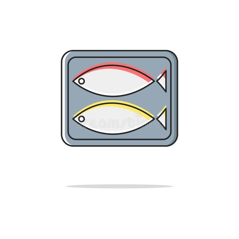 A cor enlatada dos peixes alinha finamente o ícone Ilustração do vetor ilustração royalty free