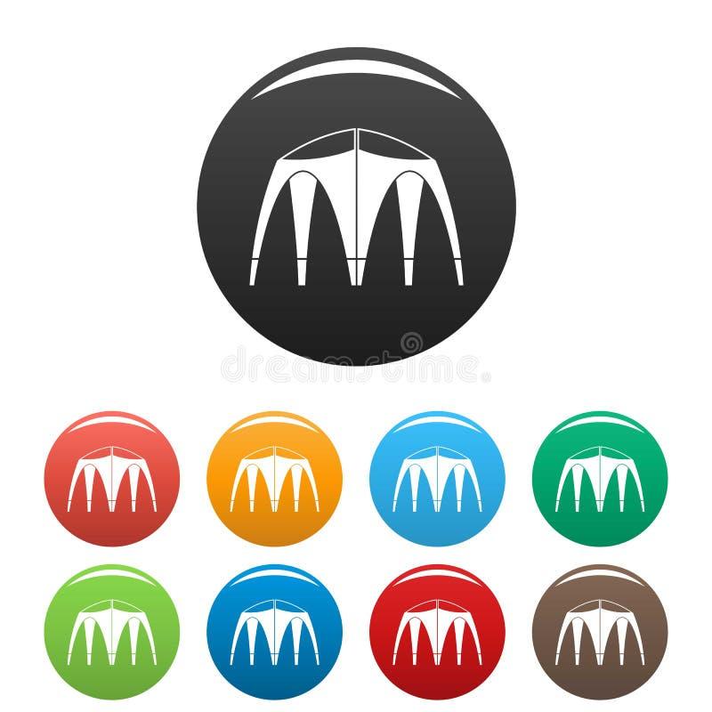 Cor exterior do grupo dos ícones da barraca ilustração do vetor