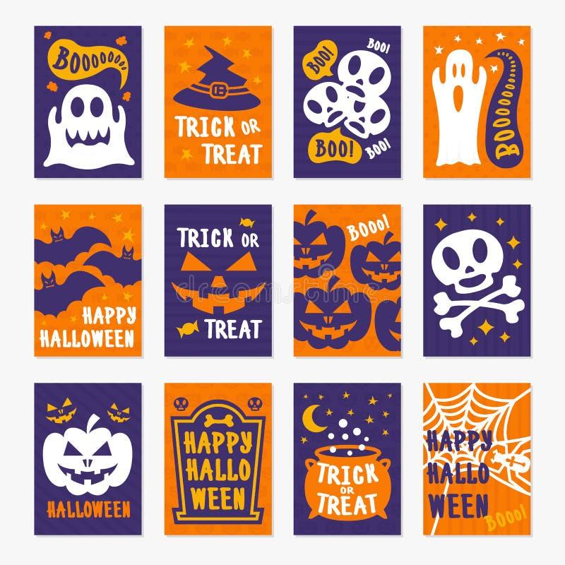 Cor feliz do grupo de cartões do Dia das Bruxas no fundo com crânio, abóbora, aranha, bastão ilustração do vetor