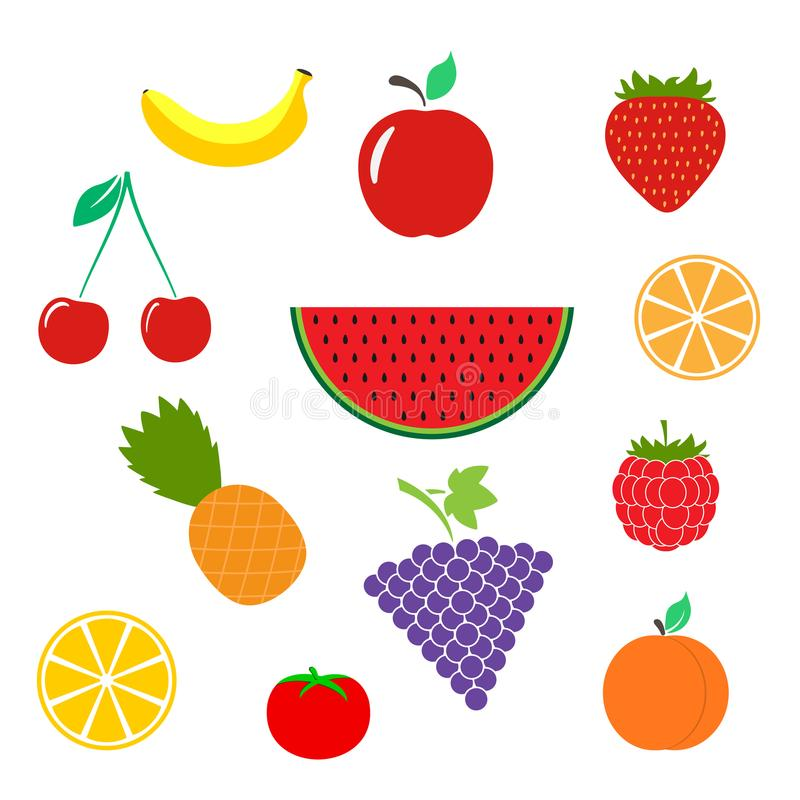 A cor frutifica ícone isolado no fundo Pictograma liso moderno, ilustração stock