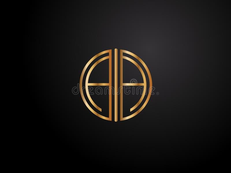 Cor inicial Logo Design mais atrasado do ouro da forma do círculo do AA ilustração royalty free
