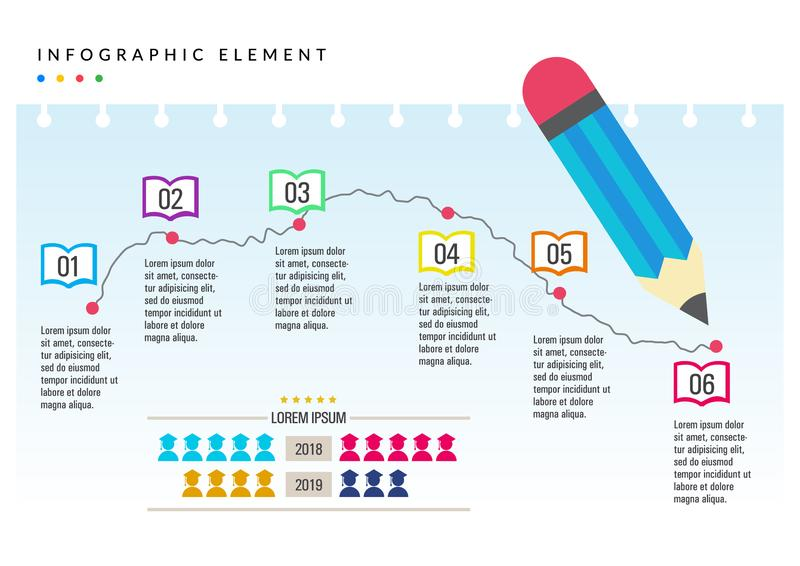 cor lisa da educação infographic do elemento ilustração stock