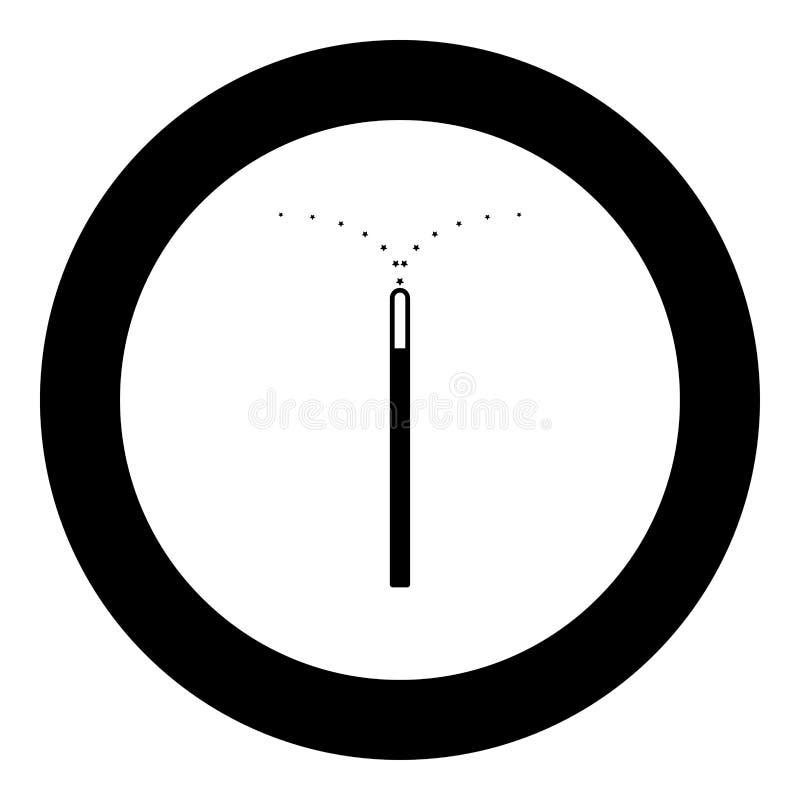 Cor mágica do preto do ícone da varinha no círculo ilustração stock