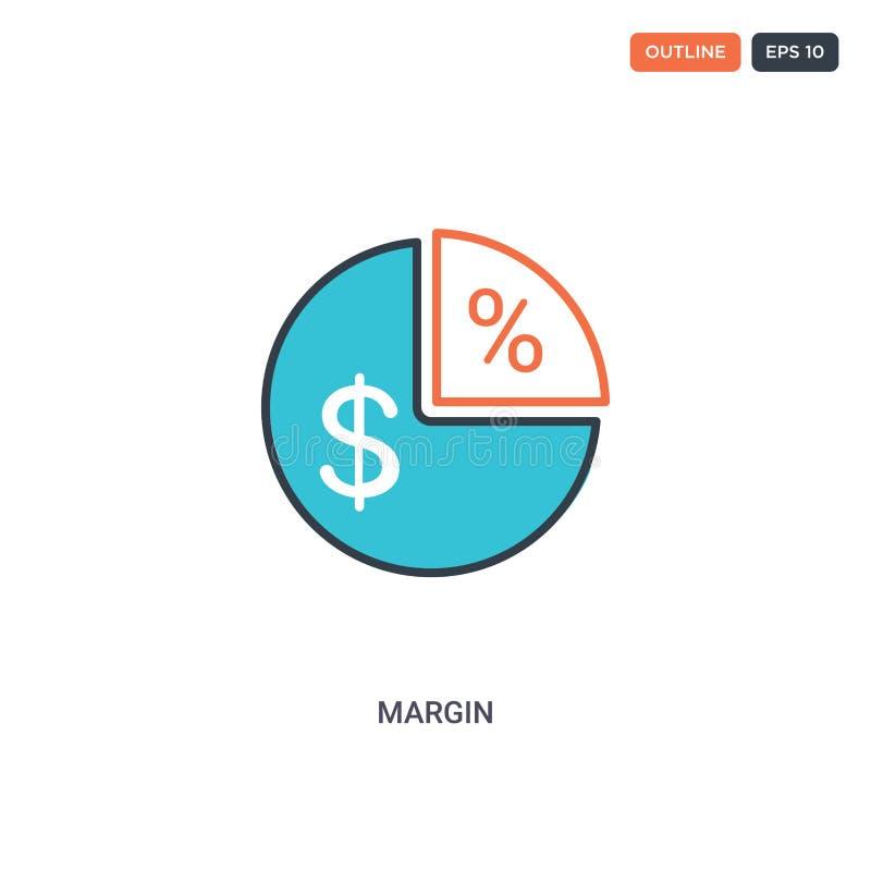 2 cor Margem do ícone vetor de linha do conceito podem ser usados para a Web dois ícones de Margem isolados com cores azuis e ver ilustração stock