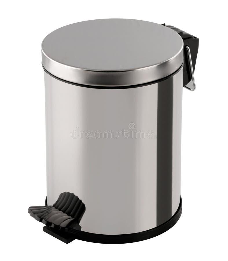 Cor metálica do balde do lixo imagens de stock royalty free