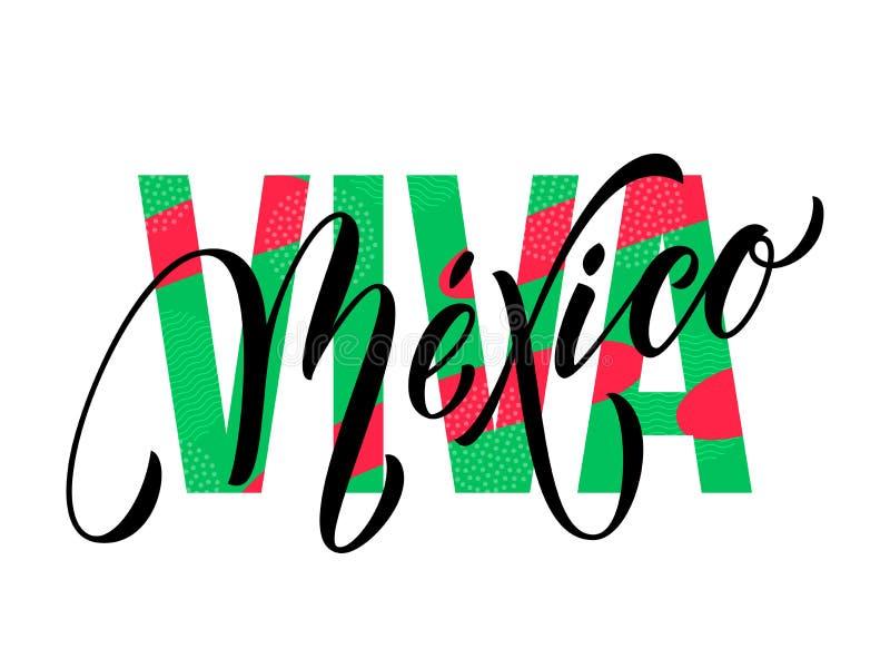 Cor mexicana da bandeira do símbolo nacional do vetor do Dia da Independência da rotulação de Viva Mexico ilustração stock