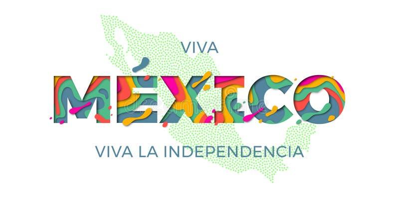 Cor mexicana do mapa da bandeira do símbolo nacional do vetor do Dia da Independência da rotulação de Viva Mexico ilustração royalty free