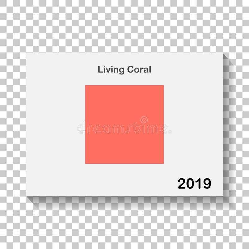 Cor na moda da imagem do vetor 2019 anos Coral vivo ilustração do vetor