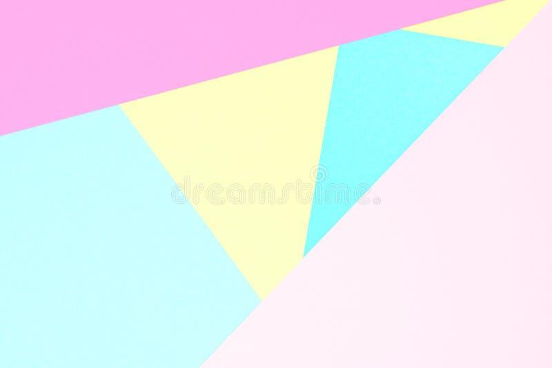 Cor pastel abstrata fundo de papel colorido da textura Formas e linhas geométricas mínimas em cores pasteis imagem de stock